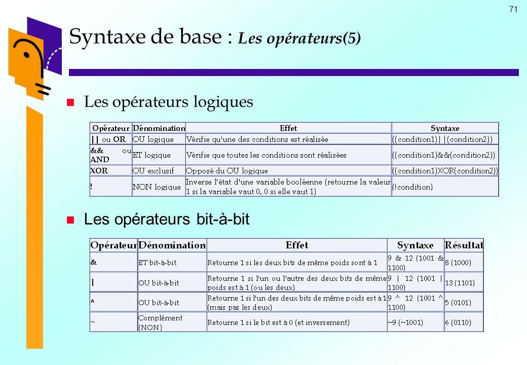 71 Syntaxe de base : Syntaxe de base : Les opérateurs(5) Les opérateurs logiques Les opérateurs bit-à-bit