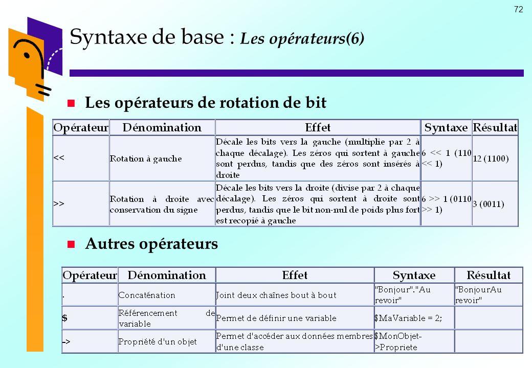 72 Syntaxe de base : Syntaxe de base : Les opérateurs(6) Les opérateurs de rotation de bit Autres opérateurs