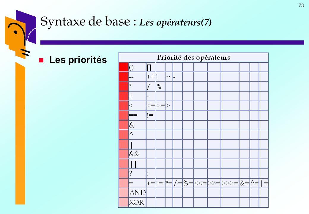 73 Syntaxe de base : Syntaxe de base : Les opérateurs(7) Les priorités