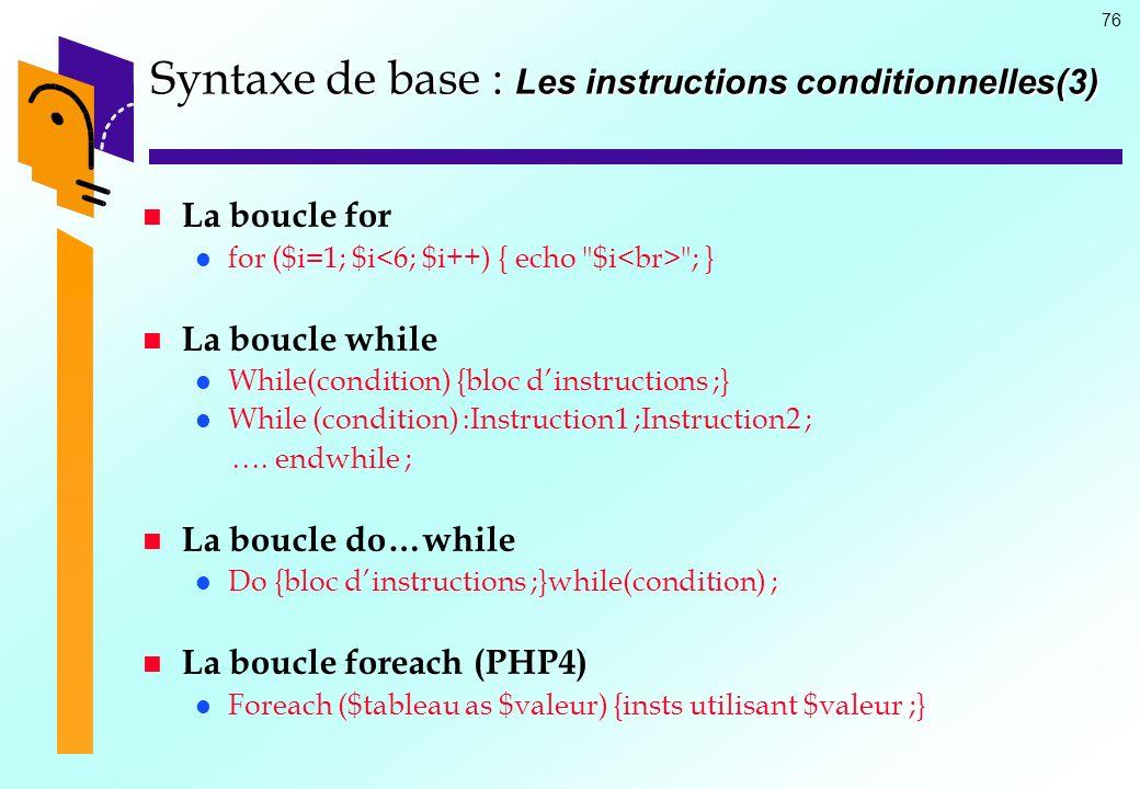 76 Syntaxe de base : Les instructions conditionnelles(3) La boucle for for ($i=1; $i