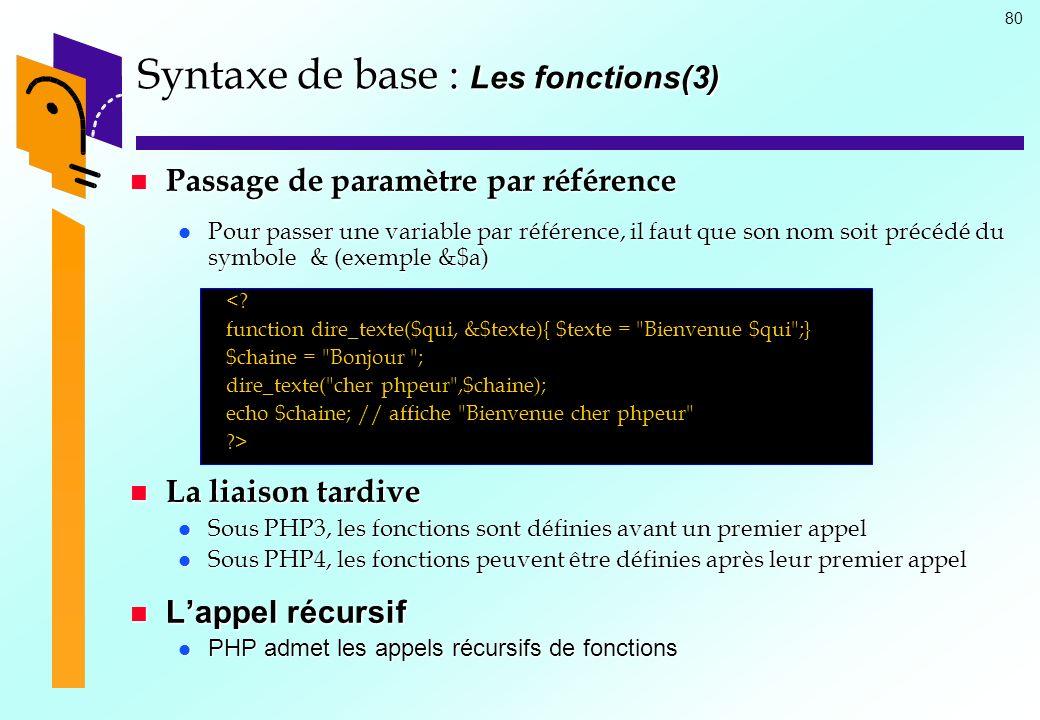 80 Syntaxe de base : Les fonctions(3) Passage de paramètre par référence Passage de paramètre par référence Pour passer une variable par référence, il