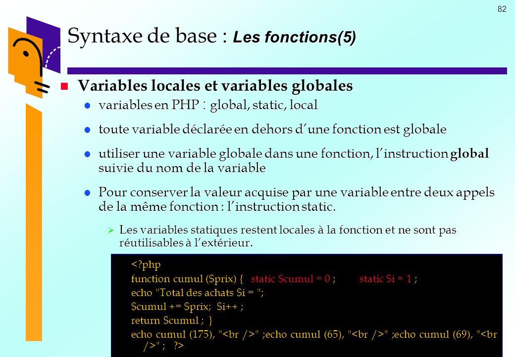 82 Syntaxe de base : Les fonctions(5) Variables locales et variables globales Variables locales et variables globales variables en PHP : global, stati