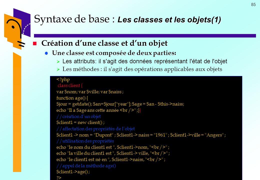 85 Syntaxe de base : Les classes et les objets(1) Création dune classe et dun objet Création dune classe et dun objet Une classe est composée de deux
