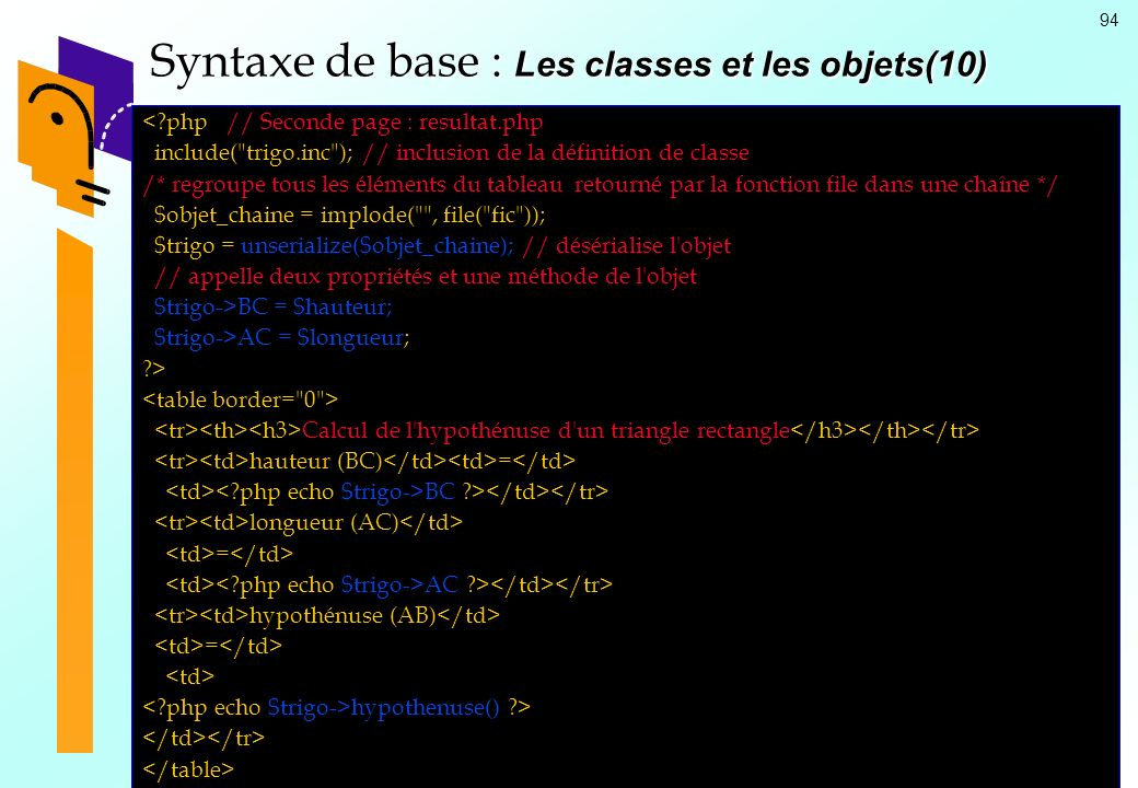 94 Syntaxe de base : Les classes et les objets(10) <?php // Seconde page : resultat.php include(