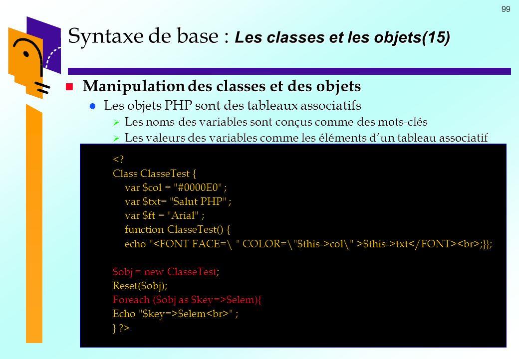 99 Syntaxe de base : Les classes et les objets(15) Manipulation des classes et des objets Manipulation des classes et des objets Les objets PHP sont d