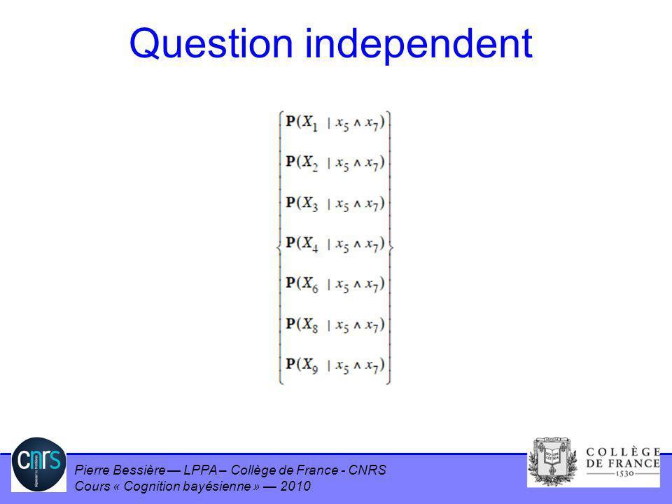 Pierre Bessière LPPA – Collège de France - CNRS Cours « Cognition bayésienne » 2010 Question independent