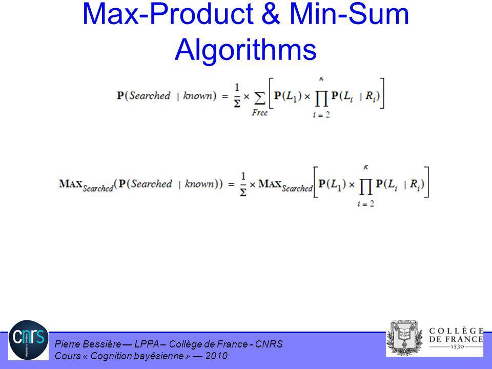 Pierre Bessière LPPA – Collège de France - CNRS Cours « Cognition bayésienne » 2010 Max-Product & Min-Sum Algorithms