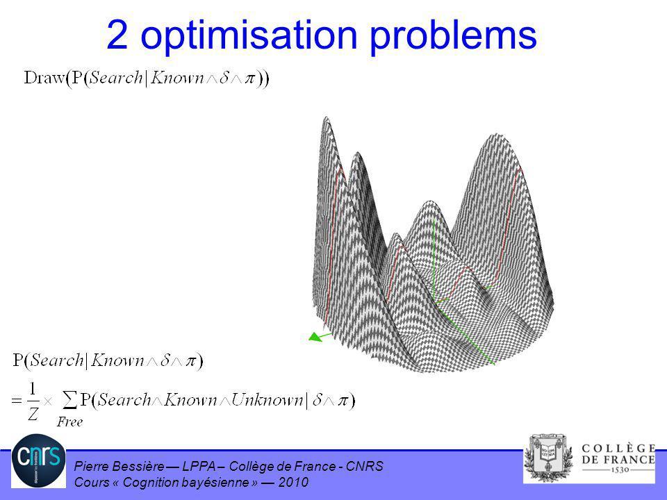 Pierre Bessière LPPA – Collège de France - CNRS Cours « Cognition bayésienne » 2010 2 optimisation problems