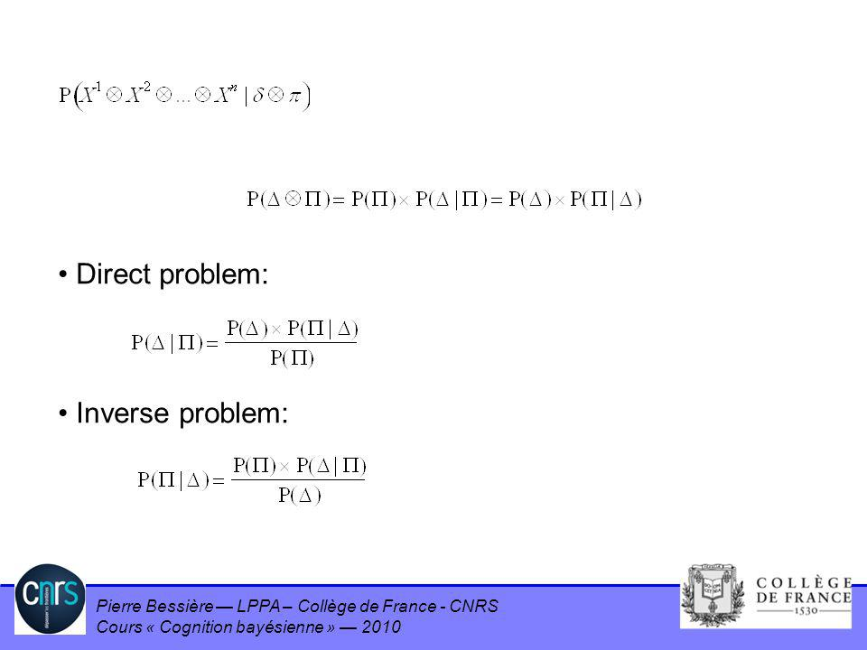 Pierre Bessière LPPA – Collège de France - CNRS Cours « Cognition bayésienne » 2010 Direct problem: Inverse problem:
