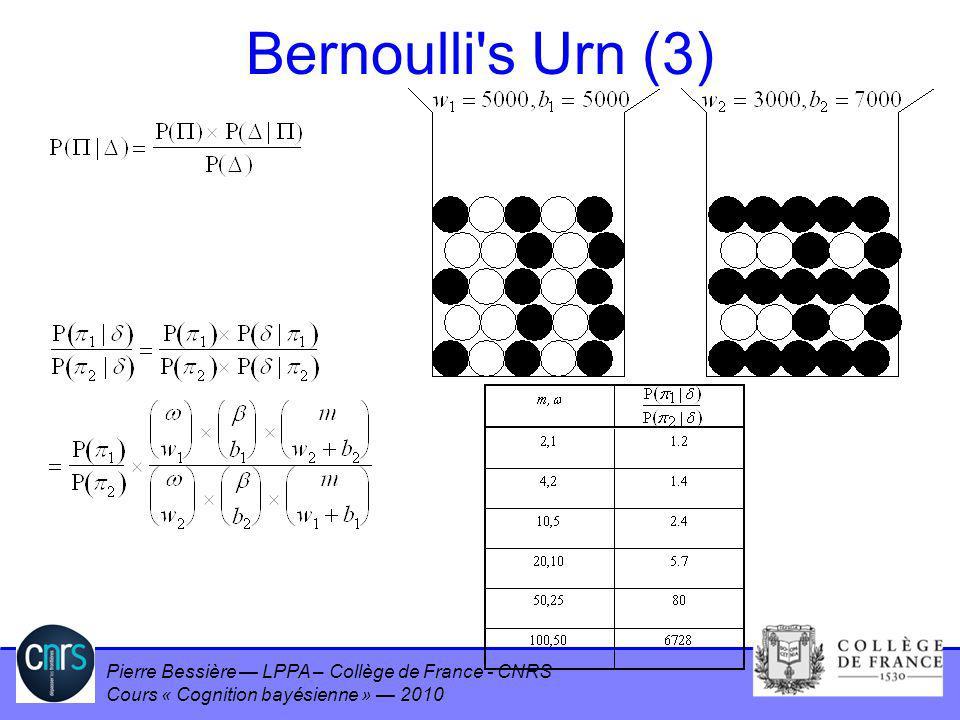 Pierre Bessière LPPA – Collège de France - CNRS Cours « Cognition bayésienne » 2010 Bernoulli's Urn (3)