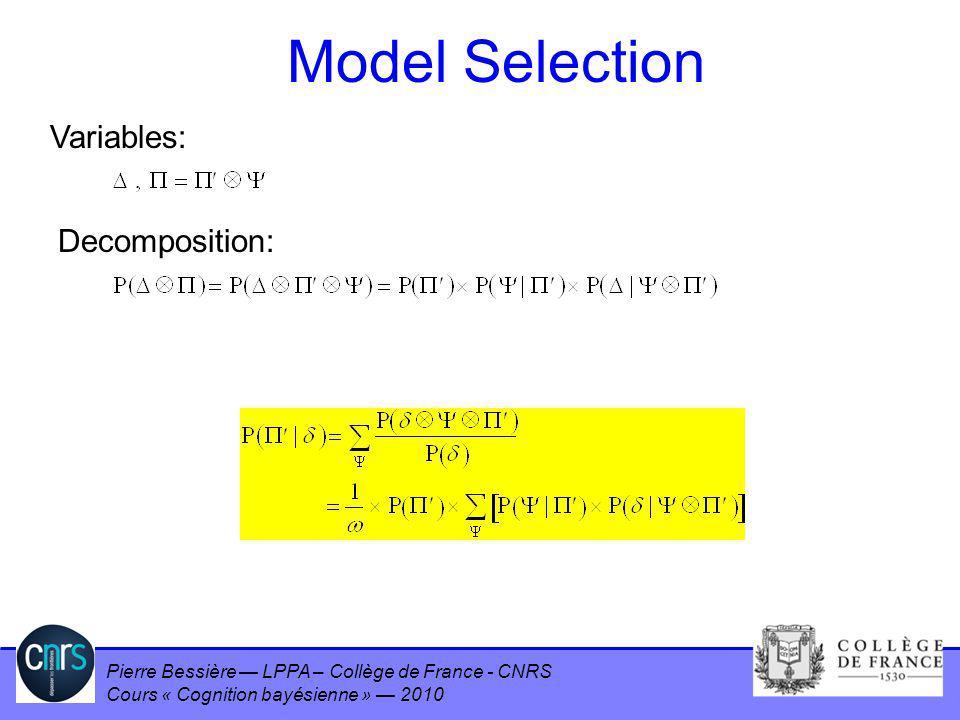Pierre Bessière LPPA – Collège de France - CNRS Cours « Cognition bayésienne » 2010 Model Selection Variables: Decomposition: