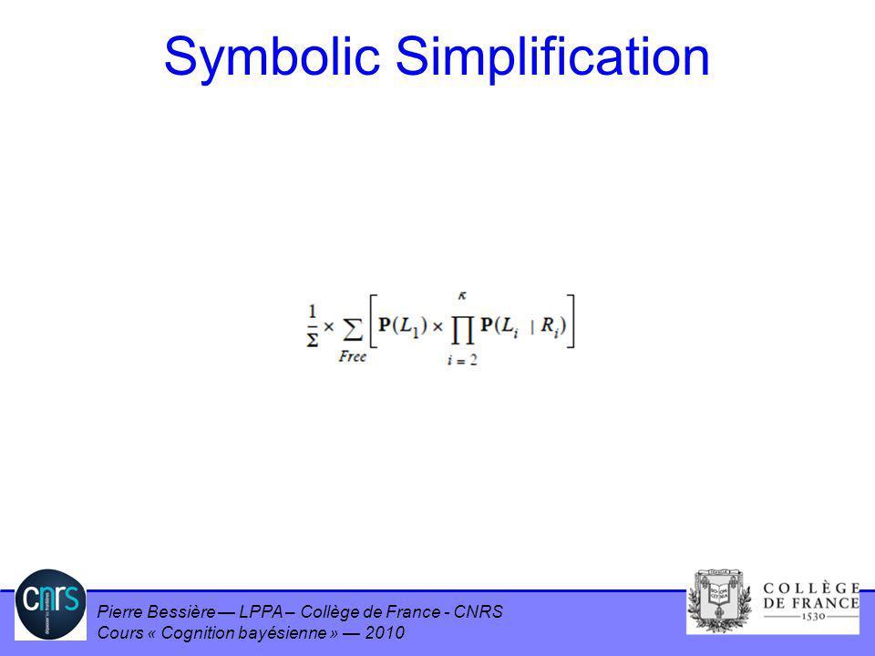 Pierre Bessière LPPA – Collège de France - CNRS Cours « Cognition bayésienne » 2010 Symbolic Simplification