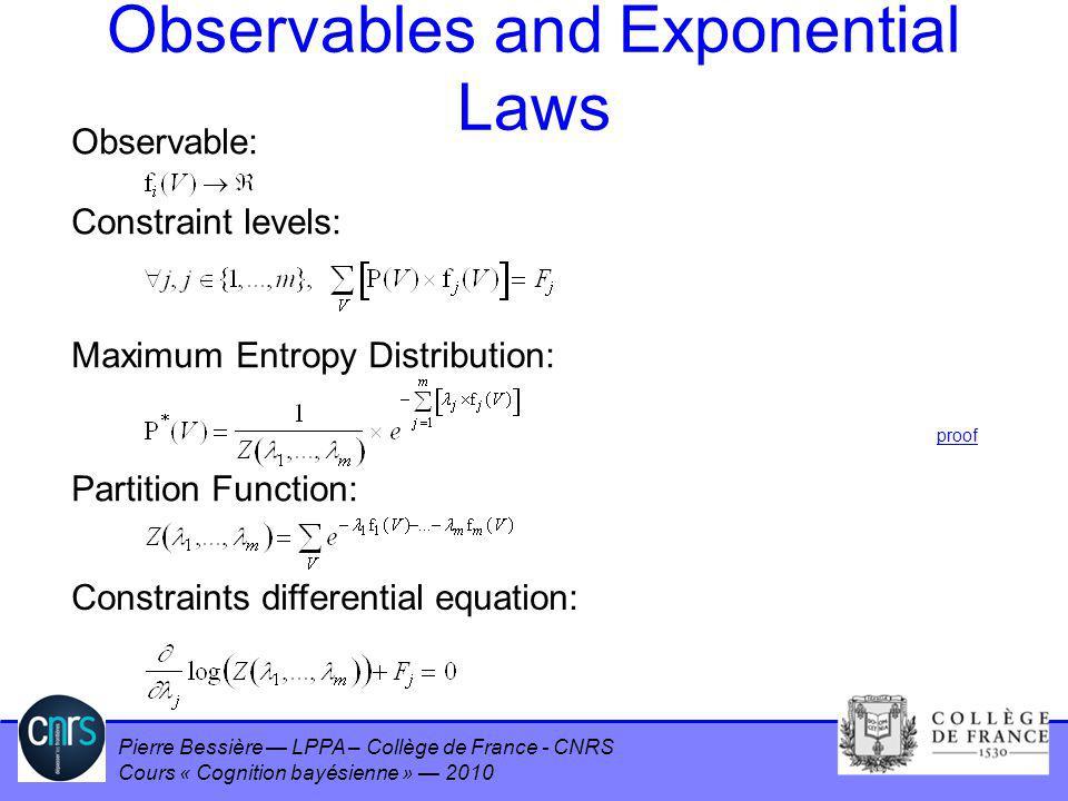 Pierre Bessière LPPA – Collège de France - CNRS Cours « Cognition bayésienne » 2010 Observables and Exponential Laws Observable: Constraint levels: Ma