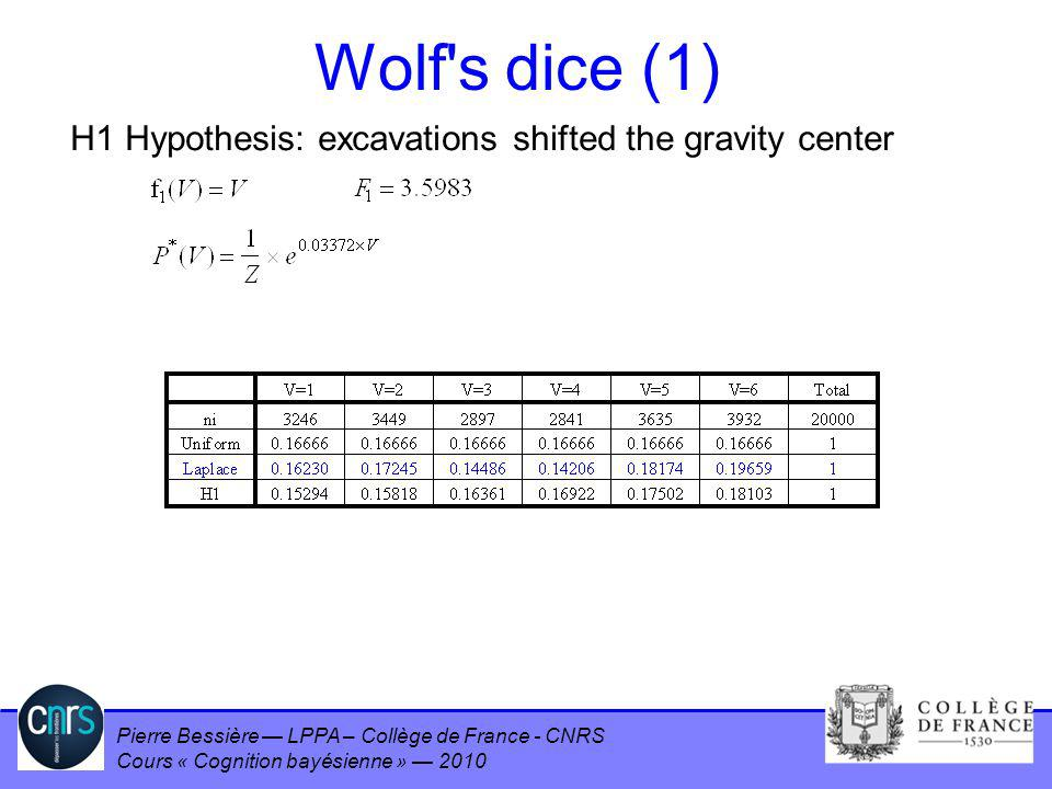 Pierre Bessière LPPA – Collège de France - CNRS Cours « Cognition bayésienne » 2010 Wolf's dice (1) H1 Hypothesis: excavations shifted the gravity cen