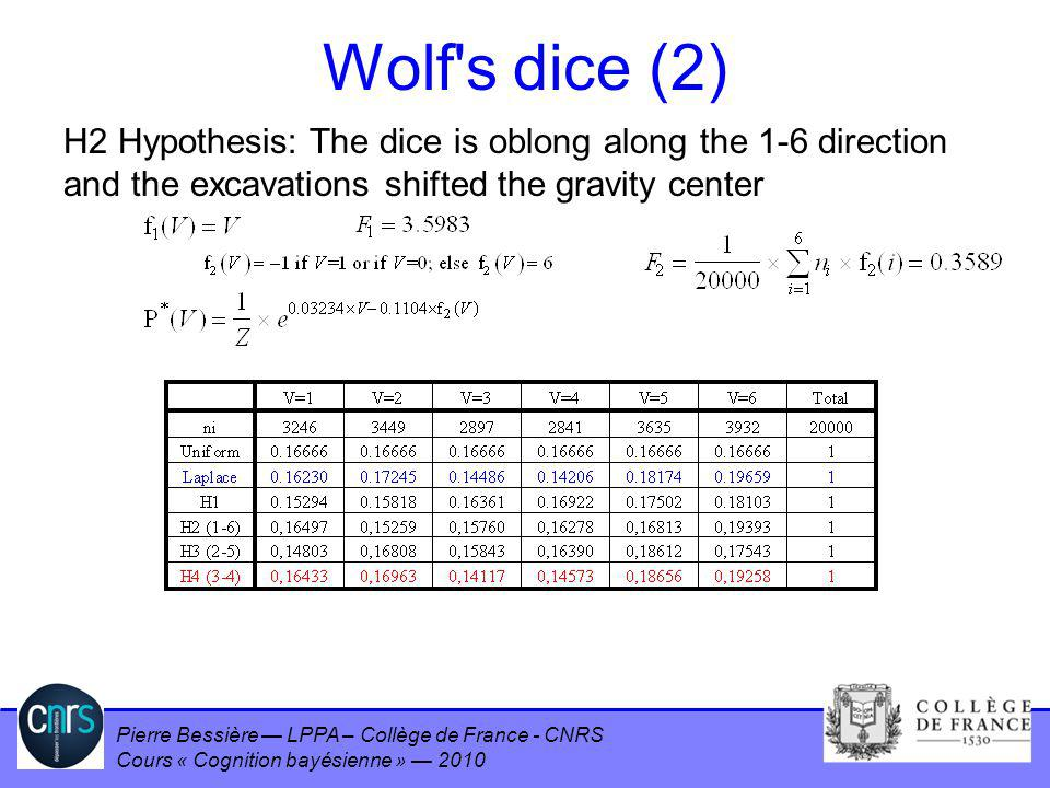 Pierre Bessière LPPA – Collège de France - CNRS Cours « Cognition bayésienne » 2010 Wolf's dice (2) H2 Hypothesis: The dice is oblong along the 1-6 di