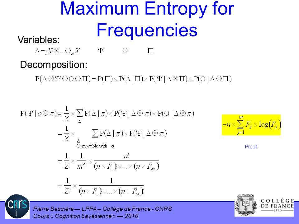 Pierre Bessière LPPA – Collège de France - CNRS Cours « Cognition bayésienne » 2010 Maximum Entropy for Frequencies Variables: Decomposition: Proof