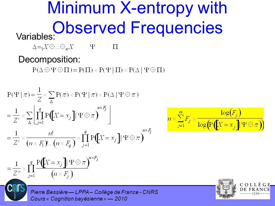 Pierre Bessière LPPA – Collège de France - CNRS Cours « Cognition bayésienne » 2010 Minimum X-entropy with Observed Frequencies Variables: Decompositi