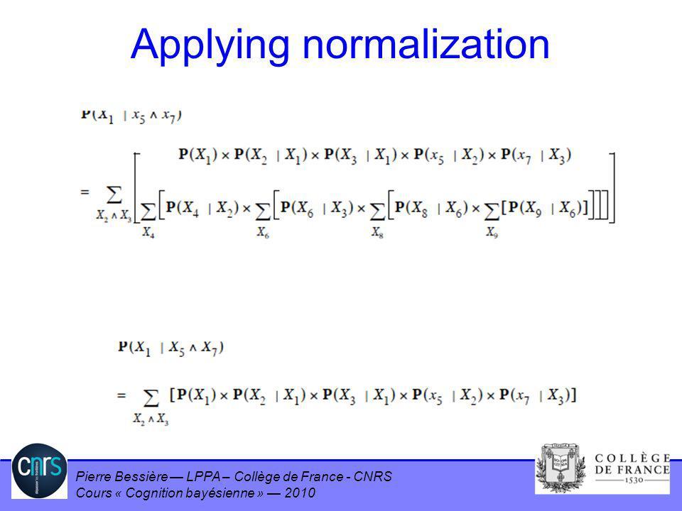 Pierre Bessière LPPA – Collège de France - CNRS Cours « Cognition bayésienne » 2010 Applying normalization
