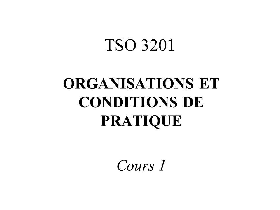 TSO 3201 ORGANISATIONS ET CONDITIONS DE PRATIQUE Cours 1