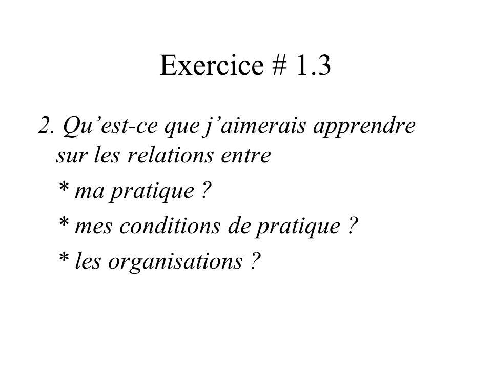 Exercice # 1.3 1. Quel étonnement ? Quelle question ? sur les relations entre * ma pratique ? * mes conditions de pratique ? * lorganisation dans laqu