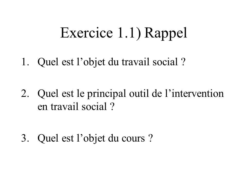 Exercice 1.1) Rappel 1.Quel est lobjet du travail social .