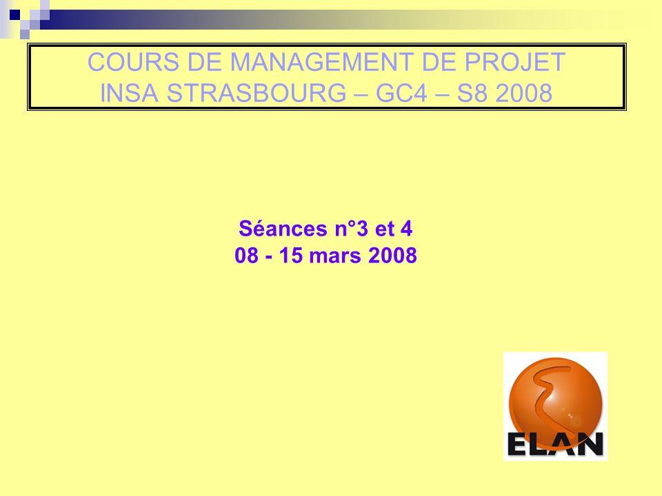 COURS DE MANAGEMENT DE PROJET INSA STRASBOURG – GC4 – S8 2008 Séances n°3 et 4 08 - 15 mars 2008