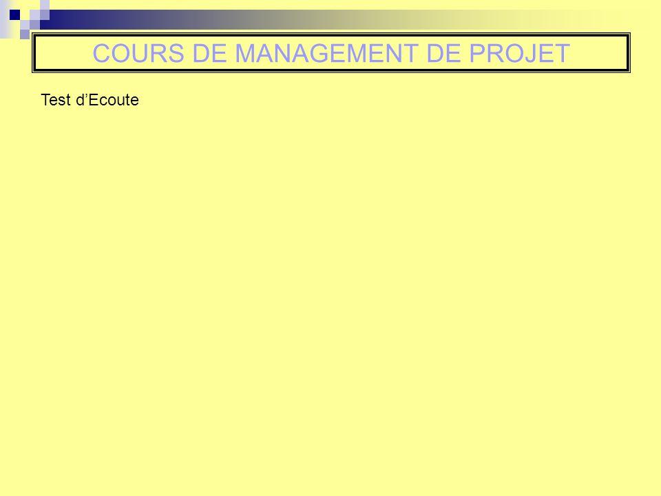 Test dEcoute COURS DE MANAGEMENT DE PROJET