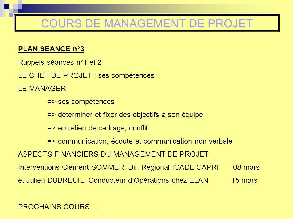 COURS DE MANAGEMENT DE PROJET PLAN SEANCE n°3 Rappels séances n°1 et 2 LE CHEF DE PROJET : ses compétences LE MANAGER => ses compétences => déterminer
