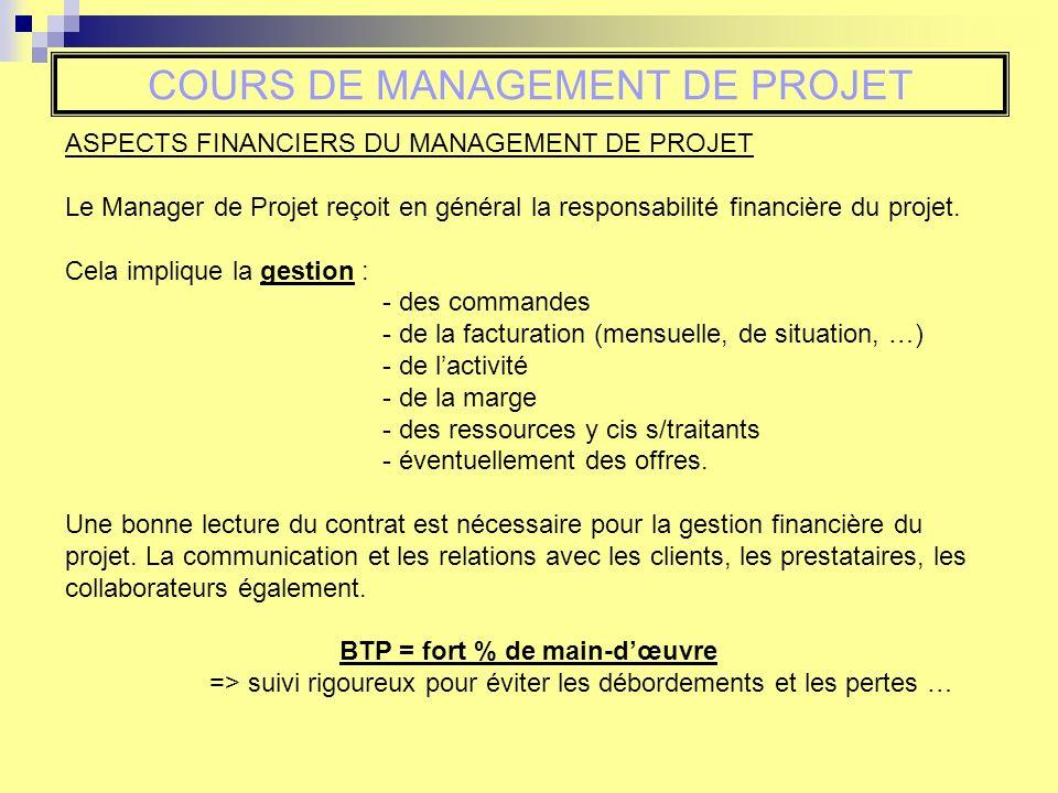 COURS DE MANAGEMENT DE PROJET ASPECTS FINANCIERS DU MANAGEMENT DE PROJET Le Manager de Projet reçoit en général la responsabilité financière du projet.