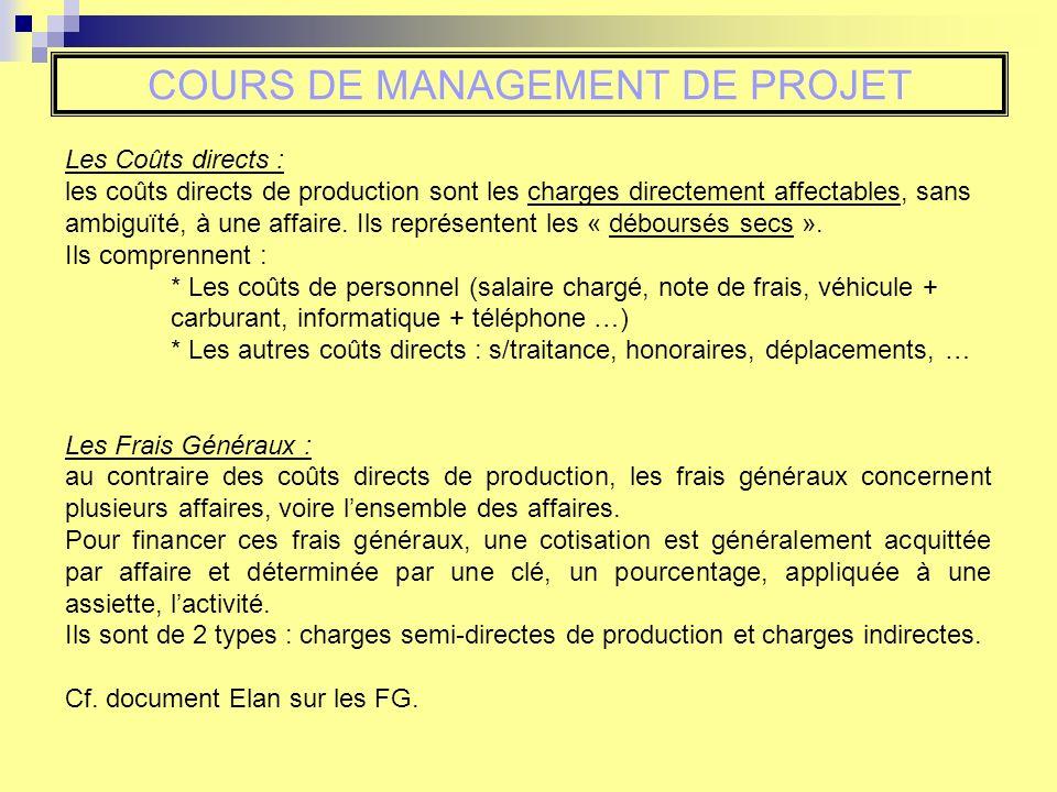 Les Coûts directs : les coûts directs de production sont les charges directement affectables, sans ambiguïté, à une affaire.