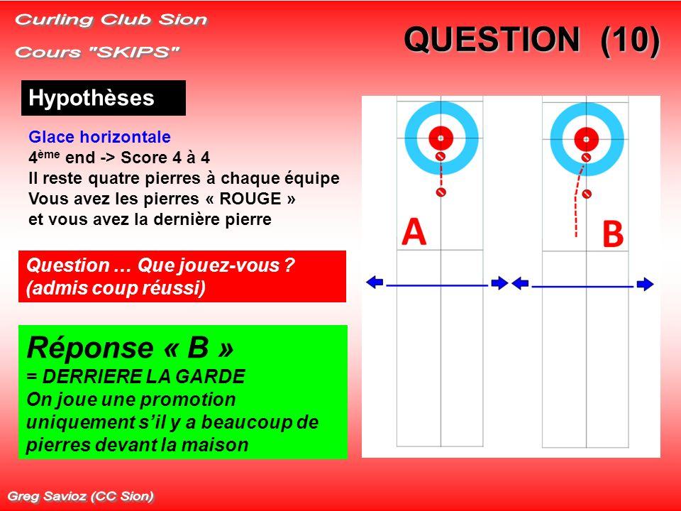 QUESTION (10) Hypothèses Glace horizontale 4 ème end -> Score 4 à 4 Il reste quatre pierres à chaque équipe Vous avez les pierres « ROUGE » et vous avez la dernière pierre Question … Que jouez-vous .