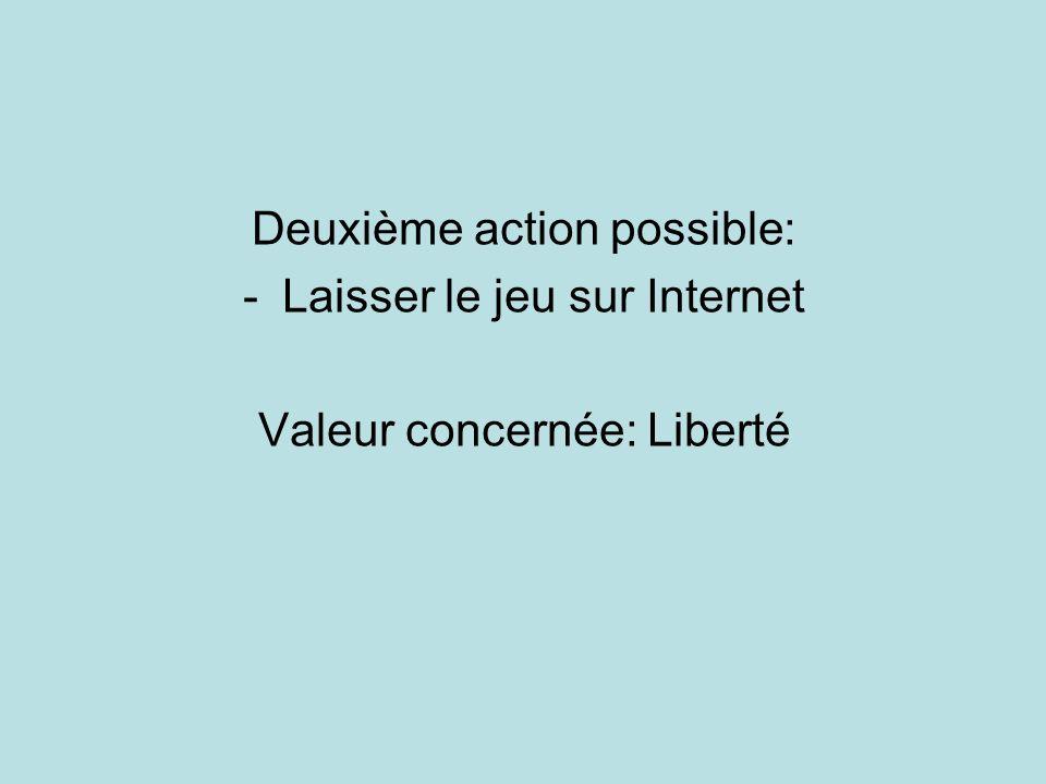 Deuxième action possible: -Laisser le jeu sur Internet Valeur concernée: Liberté