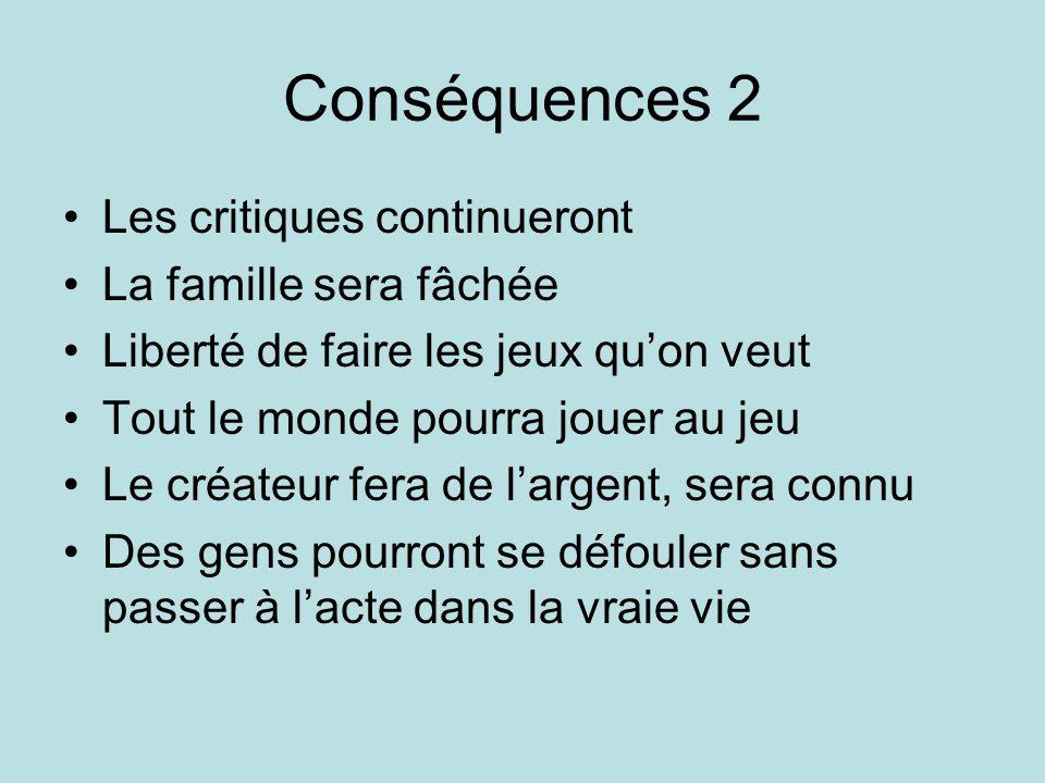 Conséquences 2 Les critiques continueront La famille sera fâchée Liberté de faire les jeux quon veut Tout le monde pourra jouer au jeu Le créateur fer