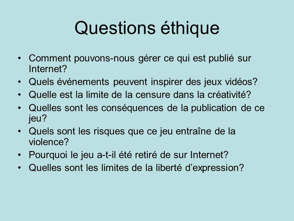 Questions éthique Comment pouvons-nous gérer ce qui est publié sur Internet? Quels événements peuvent inspirer des jeux vidéos? Quelle est la limite d