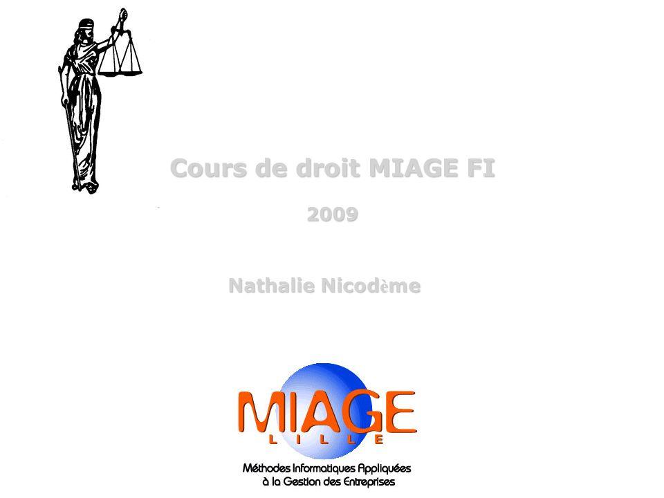 Cours de droit MIAGE FI 2009 Nathalie Nicod è me