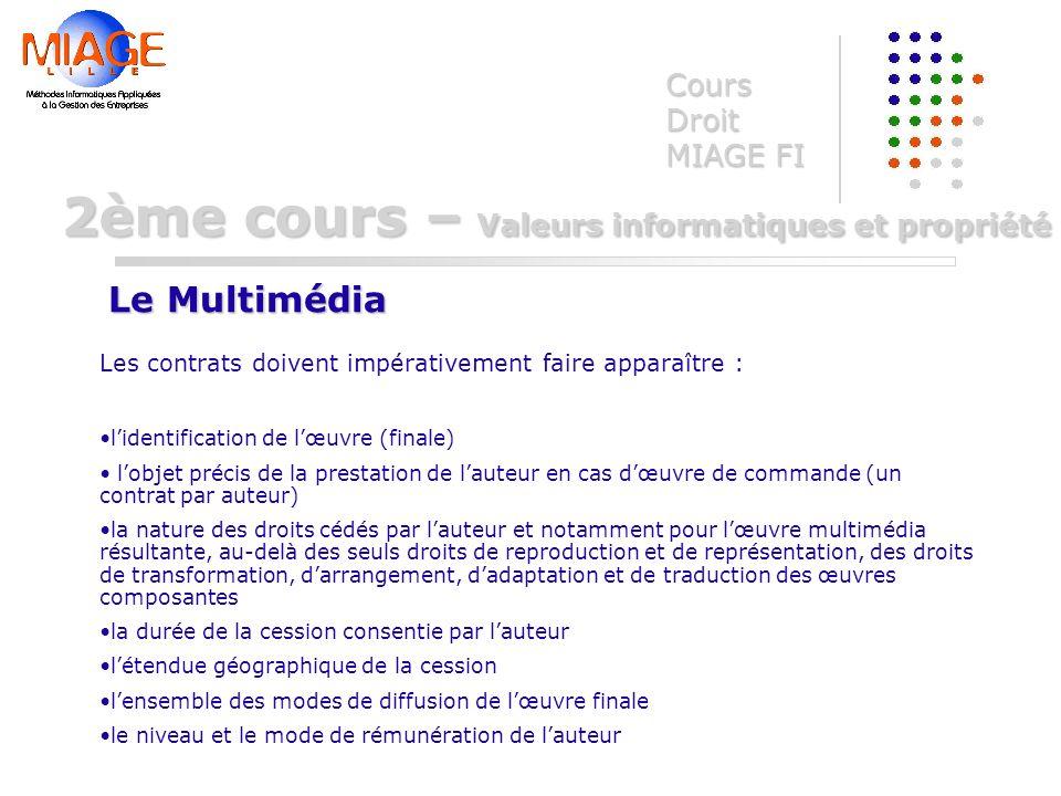 Cours Droit MIAGE FI Le Multimédia 2ème cours – Valeurs informatiques et propriété Les contrats doivent impérativement faire apparaître : lidentificat