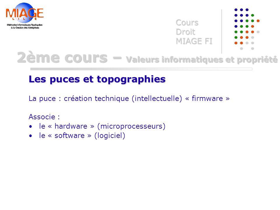 La puce : création technique (intellectuelle) « firmware » Associe : le « hardware » (microprocesseurs) le « software » (logiciel) Cours Droit MIAGE F