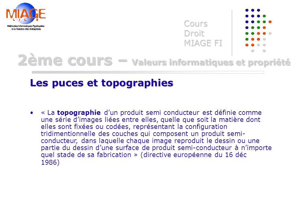 « La topographie dun produit semi conducteur est définie comme une série dimages liées entre elles, quelle que soit la matière dont elles sont fixées