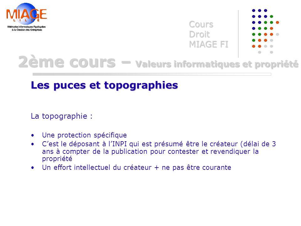 La topographie : Une protection spécifique Cest le déposant à lINPI qui est présumé être le créateur (délai de 3 ans à compter de la publication pour