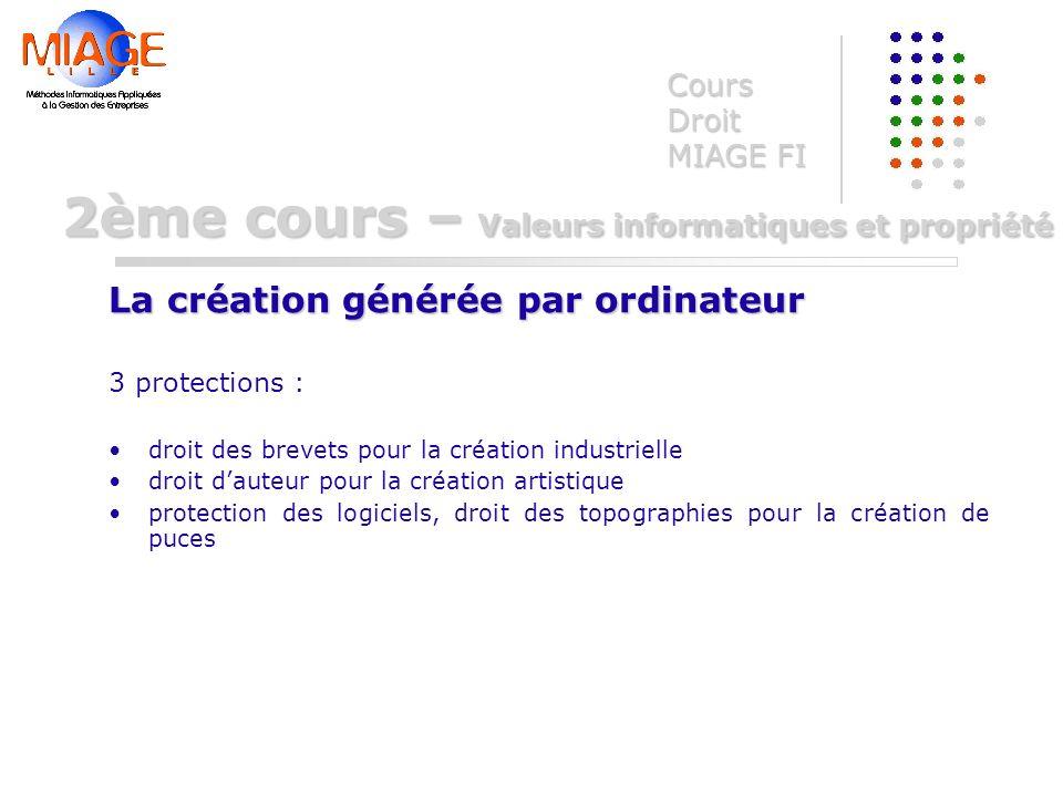 3 protections : droit des brevets pour la création industrielle droit dauteur pour la création artistique protection des logiciels, droit des topograp