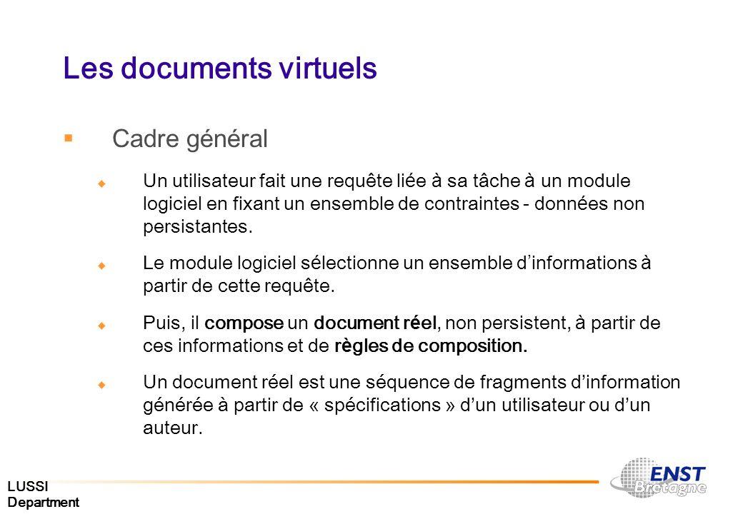 LUSSI Department Les documents virtuels Cadre g é n é ral Un utilisateur fait une requête li é e à sa tâche à un module logiciel en fixant un ensemble