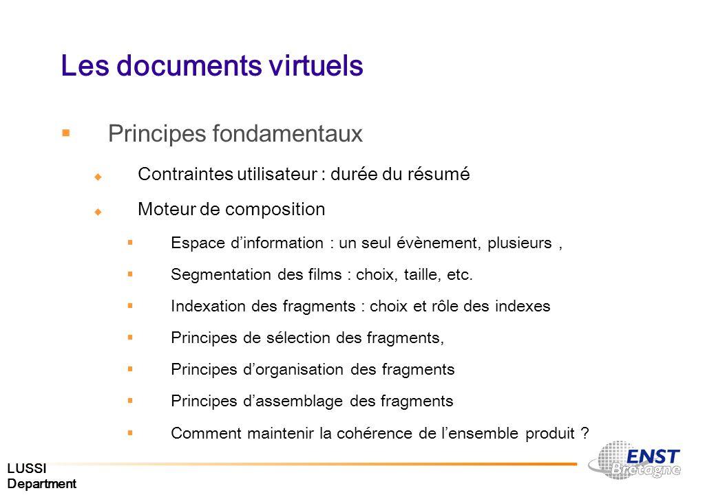 LUSSI Department Les documents virtuels Principes fondamentaux Contraintes utilisateur : durée du résumé Moteur de composition Espace dinformation : u