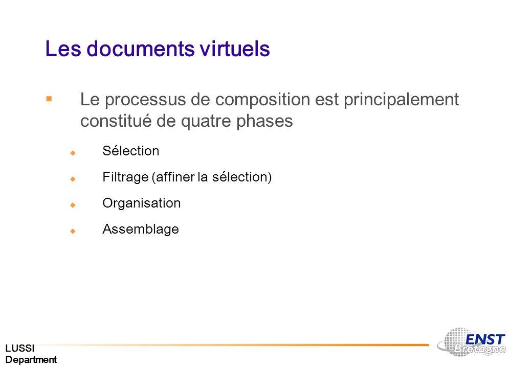 LUSSI Department Les documents virtuels Le processus de composition est principalement constitué de quatre phases Sélection Filtrage (affiner la sélec