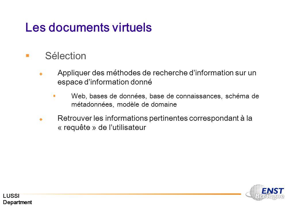 LUSSI Department Les documents virtuels Sélection Appliquer des méthodes de recherche dinformation sur un espace dinformation donné Web, bases de donn