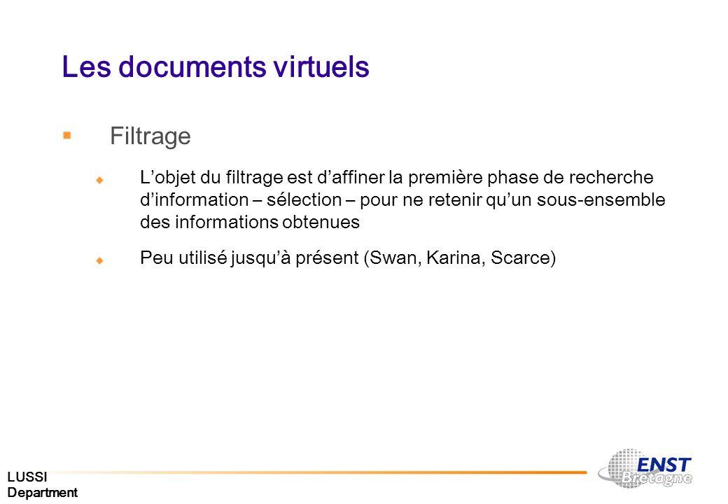 LUSSI Department Les documents virtuels Filtrage Lobjet du filtrage est daffiner la première phase de recherche dinformation – sélection – pour ne ret