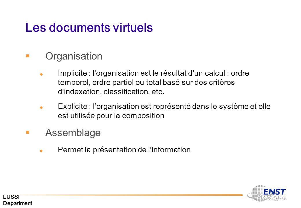 LUSSI Department Les documents virtuels Organisation Implicite : lorganisation est le résultat dun calcul : ordre temporel, ordre partiel ou total bas