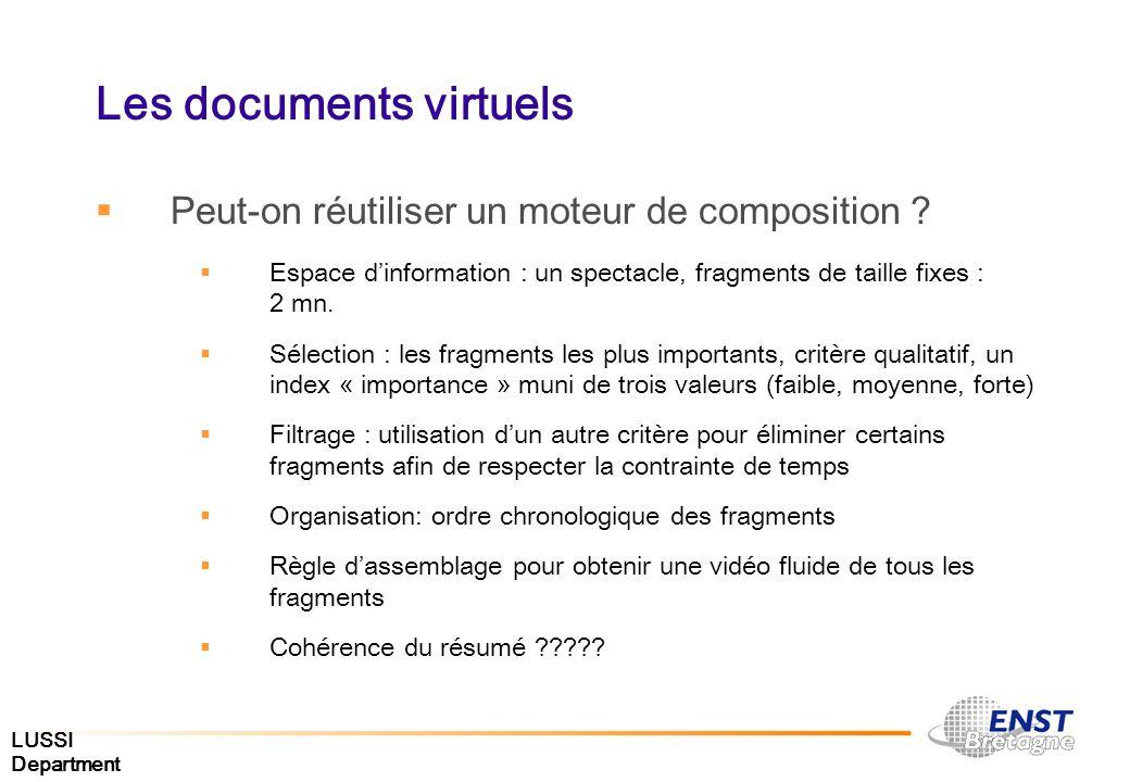 LUSSI Department Les documents virtuels Peut-on réutiliser un moteur de composition ? Espace dinformation : un spectacle, fragments de taille fixes :