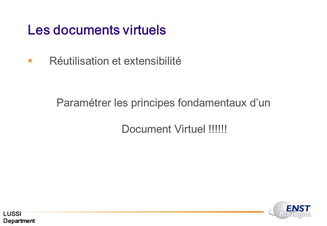 LUSSI Department Les documents virtuels Réutilisation et extensibilité Paramétrer les principes fondamentaux dun Document Virtuel !!!!!!