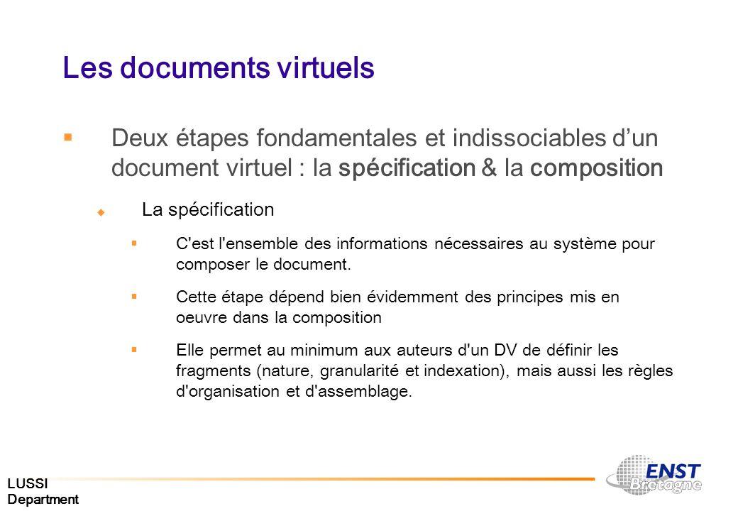 LUSSI Department Les documents virtuels Deux étapes fondamentales et indissociables dun document virtuel : la spécification & la composition La spécif
