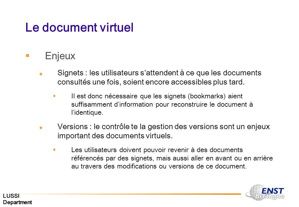 LUSSI Department Le document virtuel Enjeux Signets : les utilisateurs sattendent à ce que les documents consultés une fois, soient encore accessibles